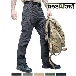 TACVASEN Zip Pockets Mens Tactical Cargo Pants Safari Workou
